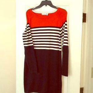 Blue white and orange sweater dress! EUC!
